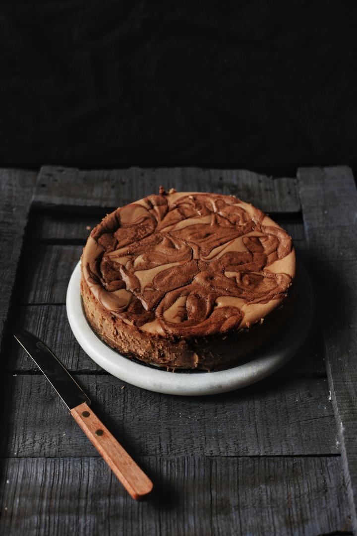 Nutella swirled cheesecake.